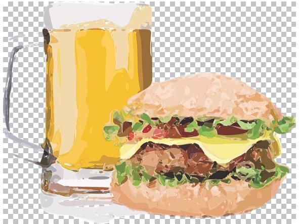 Foto de sectores en auge, cerveza y hamburguesa
